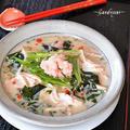 すりおろし新生姜の甘酢漬けがポイント・少し冷たい豆乳入り焙煎ごまスープ♪