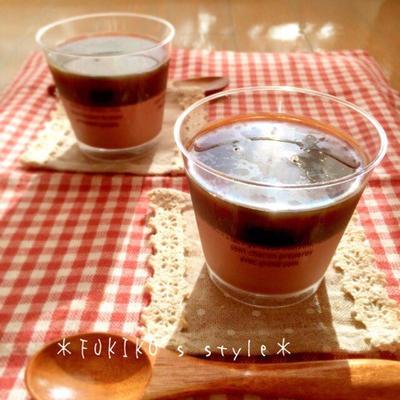 夏のおやつに♪ミロとコーヒーの二色ゼリー