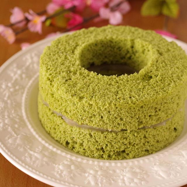 レンジで簡単♪ホットケーキミックス(HM)の抹茶シフォンケーキ(白あんサンド)