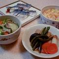 キャベツとポークの中華スープとしめ鯖