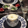 玉ねぎ氷でひんや~りトウモロコシの冷製ポタージュと、クラブハリエのバームクーヘン。