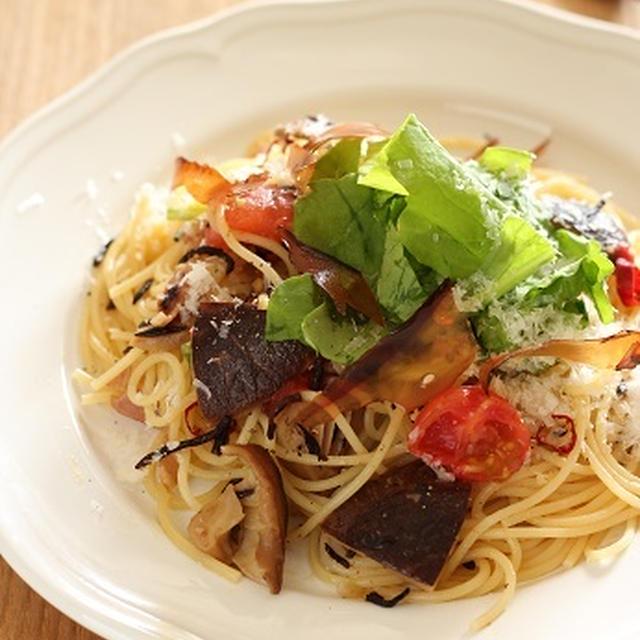 「乾物イタリアン」干し椎茸とベーコンのパスタ