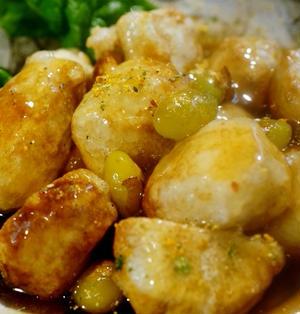 ■居酒屋メニュー【銀杏入り 里芋のから揚げ餡かけ】ほっこり~嬉しい一品です♪
