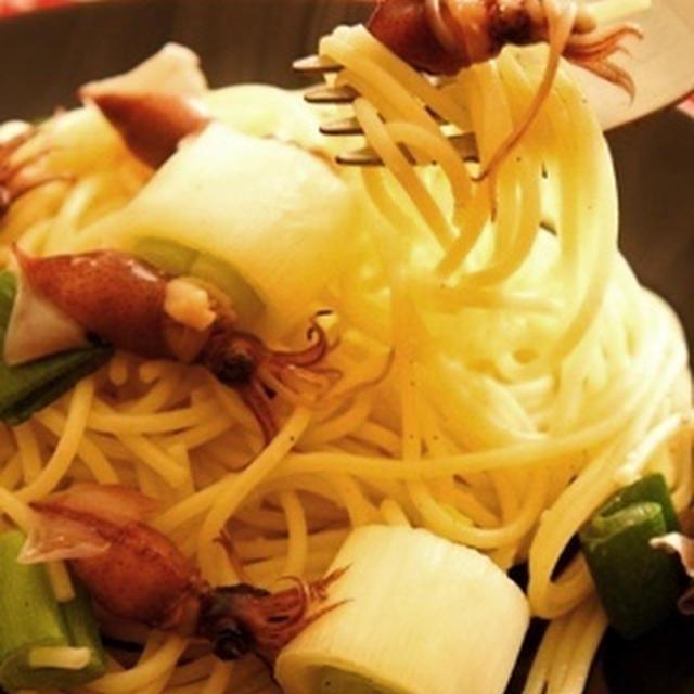 旬が美味しい、ホタルイカと下仁田葱の和パスタと和ワインのマリアージュ