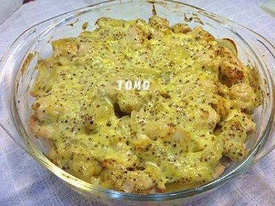 鶏肉とジャガイモのマヨ粒マスタード焼き