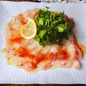 タイのカルパッチョ〜梅肉ソース