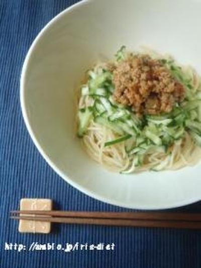肉味噌を使って…ジャジャ麺風パスタ