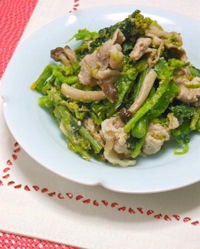オウチで簡単デリ風サラダ!菜の花と豚しゃぶのゴマ和えホットサラダ。
