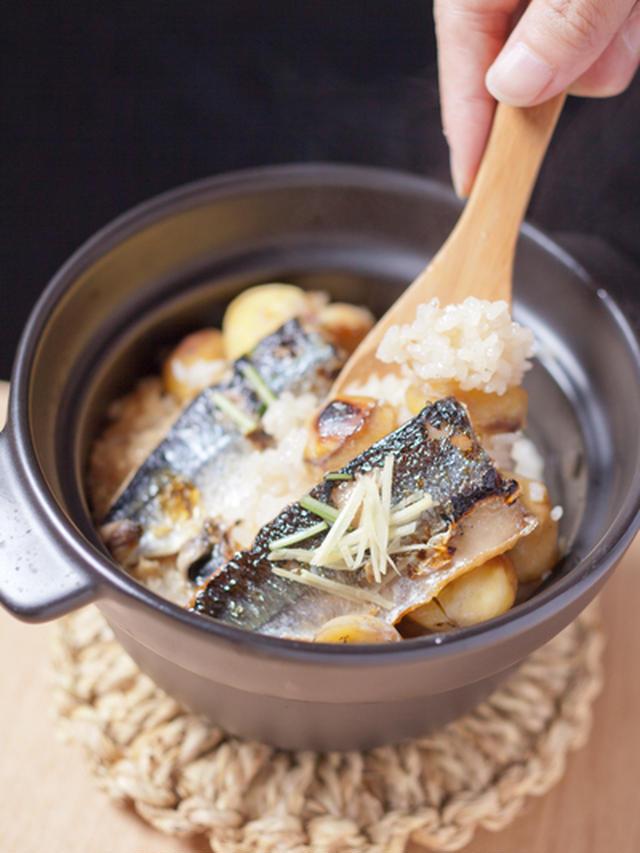 焼き栗とさんまの土鍋御飯