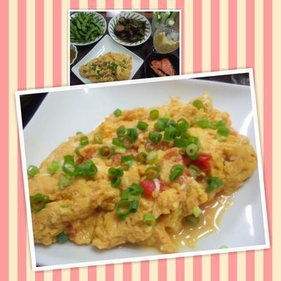 卵たっぷり!トマトのオムレツ風オイスターソース炒め(レシピ付)