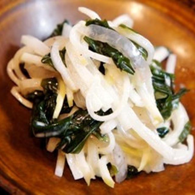 我が家の定番、若芽と大根の簡単マヨサラダ、鰆の若芽〆、小芋と鯛の子炊いたん