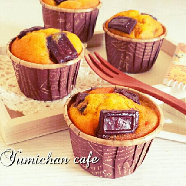 ♡HM&ココナッツオイルde作る♪バナナ入り♡かぼちゃチョコマフィンの作り方♡