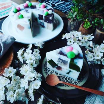寒天ケーキ色々❤️と、さっぱりヘルシー春香る❤️桜餅風!?牛乳寒天ケーキ♪
