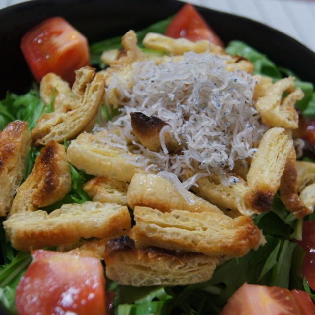 揚げさんとジャコのみず菜サラダ