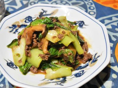 【おうちのみ大使】チンゲン菜と椎茸のオイスターソース炒め。干し椎茸で旨みたっぷりなおつまみ。