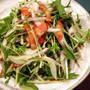 水菜、新紫玉ねぎ、ベーコンのサラダ