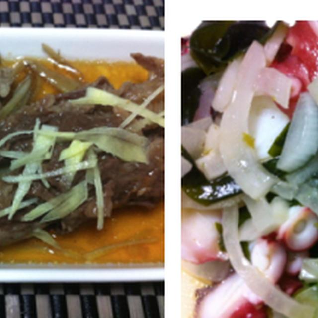 千切りゴボウの牛肉巻き、海老と新たまねぎの明太マヨ、ハンペンのキムチチーズ焼き