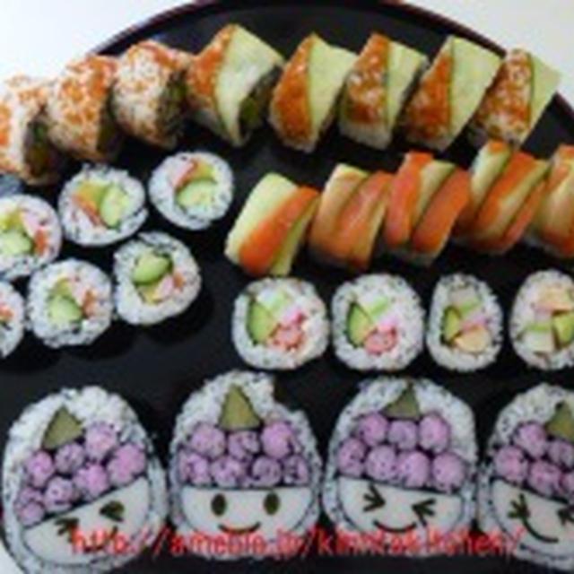 飾り巻き寿司 節分 鬼の飾り巻き寿司と恵方巻き