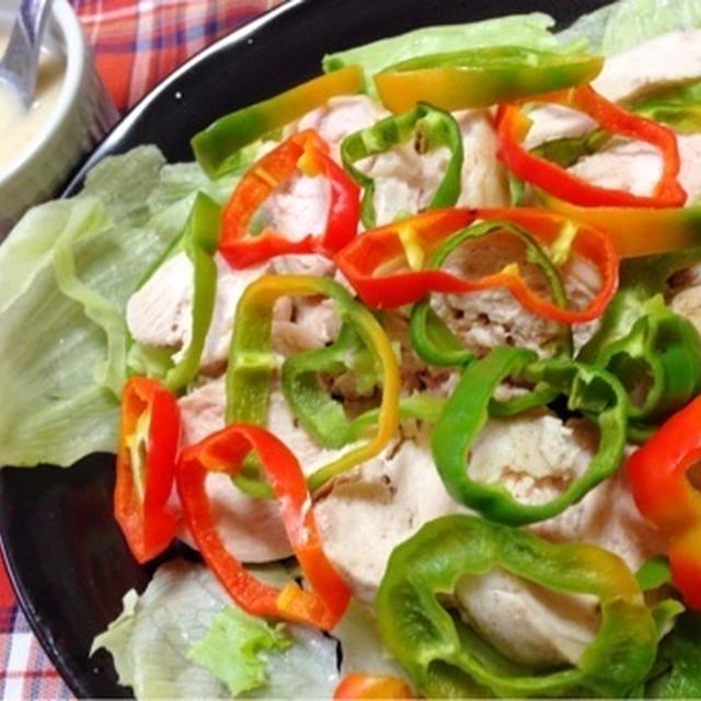 鶏ハム カルボナーラソース と アヒルのガー子