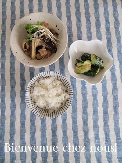 茄子の味噌炒めでお昼ごはん!