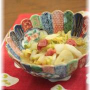 白菜の梅味噌にんにく煮。 と 献立。