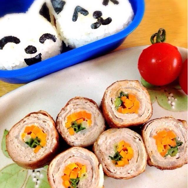 豚肉の野菜巻き弁当。