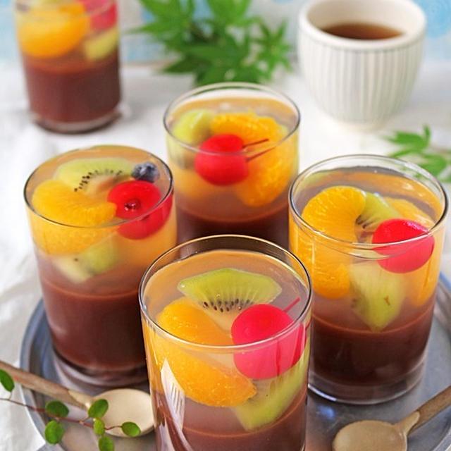 フルーツの甘酸っぱさであっさり♪簡単フルーツ水ようかん♪