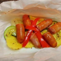 とろけるチーズに感動☆シャウエッセンと彩野菜の包み蒸し♪☆♪☆♪