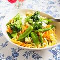 緑野菜と半熟卵のフジッリ ~ パルミジャーノ・レッジャーノを添えて