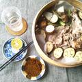 野菜の蒸籠蒸し、辛味胡麻タレ&カボス塩で