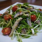 シメサバの水菜ときゅうりのサラダ♪