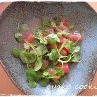 ミニ小松菜とトマトのオリーブオイルサラダ