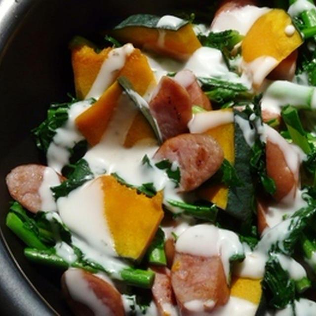 冬菜(菜花)とカボチャとウインナーのごちそうサラダ