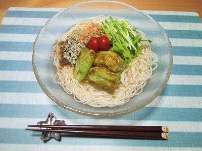 梅こんぶ茶deさっぱり焼き茄子素麺