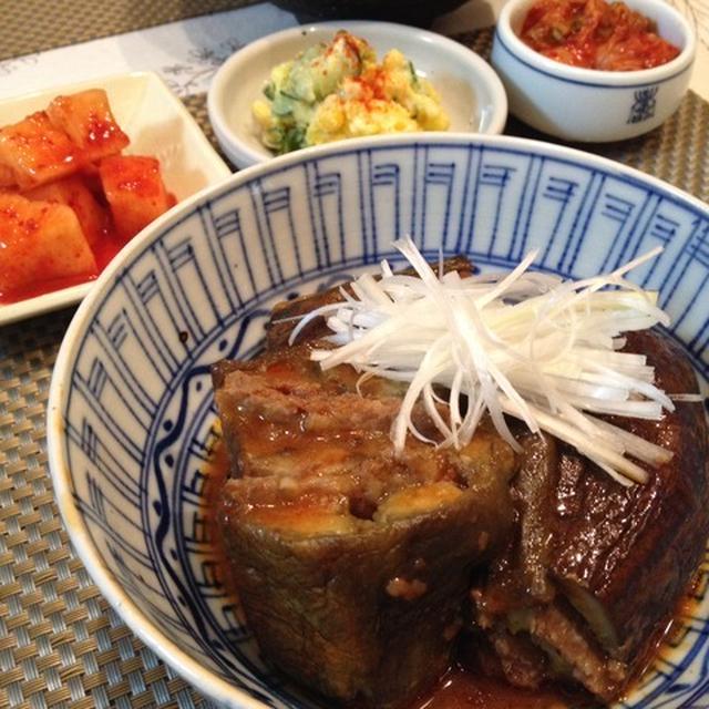 秋茄子で「カジチム」~ 茄子の肉詰め蒸し煮。