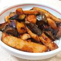 丸天となすとエリンギの焦がしポン酢焼肉たれ炒め(冷蔵庫のあまりもの)