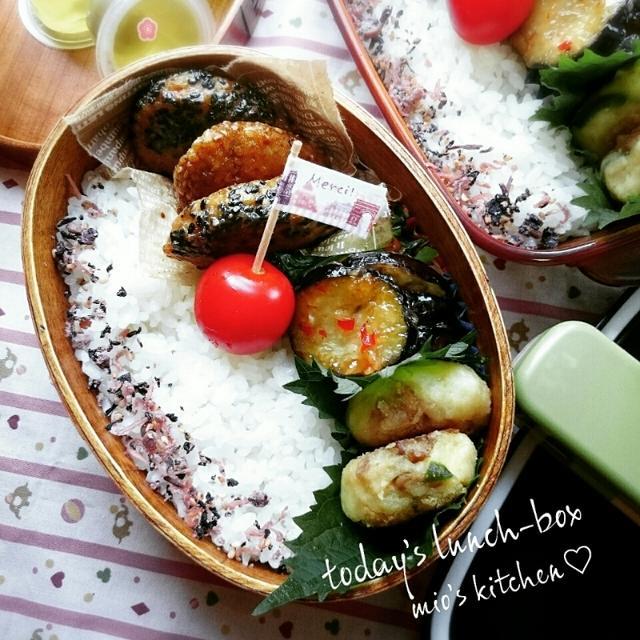 ♡今日のお弁当♡ゴマいっぱいの鶏つくね♡家庭菜園♡