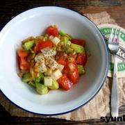 【簡単!!カフェサラダ】アボカド、トマト、長いもの玉ねぎドレッシング