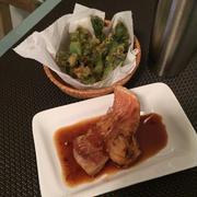 赤魚の煮付けとたらの芽の天ぷらのお晩酌。味噌玉作り。
