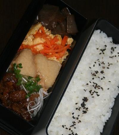 10月31日  鶏皮の甘辛炒め弁当と鮭菜飯にぎり