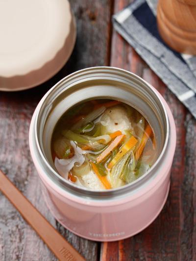 とろとろネギと鶏団子のうま塩スープ【#簡単 #時短 #節約 #スープ #スープジャー】