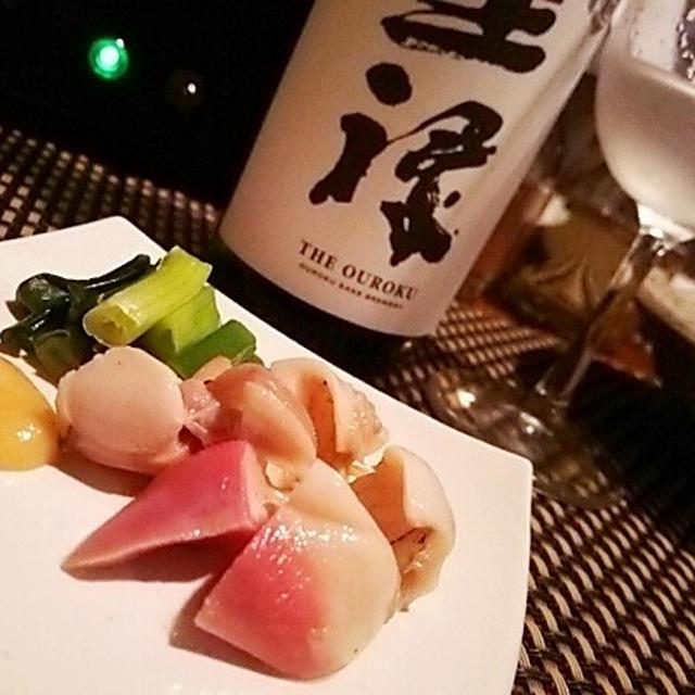 北寄貝と九条葱のぬた×王禄、ずいきとふのりのカルパッチョ×土佐しらぎく、鯖棒寿司×綿屋