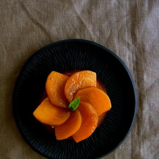 ベーグルのタルト風:柿のキャラメルソテーのせ