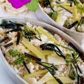 ■季節料理【タケノコの炊き込みご飯(畑の蕗と山採りワラビの三つ巴)】です♪