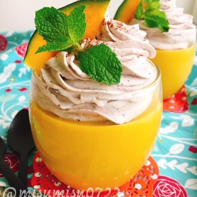 南瓜ココナッツミルクプリンとアサイーチーズクリーム