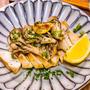 ガーリックペッパーで味付け「鶏むね肉のソテー舞茸のせ」&「吉野家の牛皿で卵とじ」