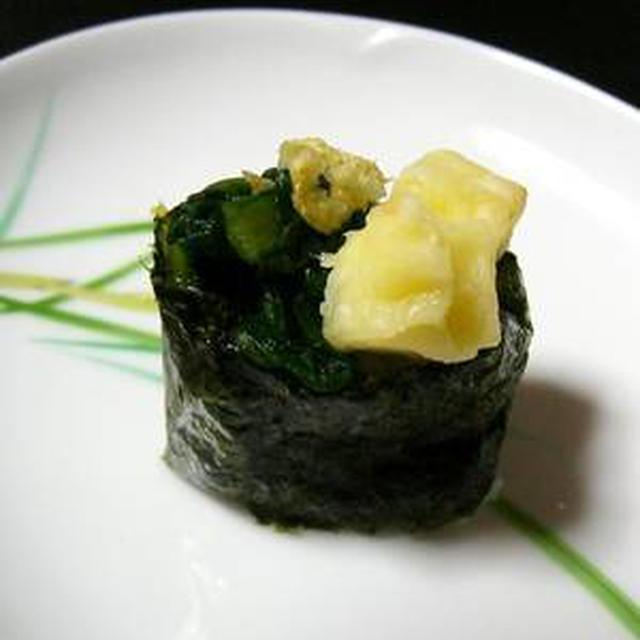 こんがりチーズと野沢菜漬けの軍艦
