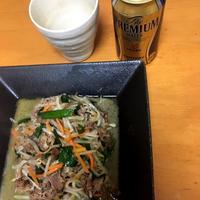 牛こま肉と野菜の中華風炒め