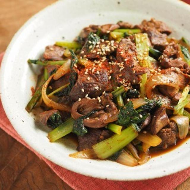 鶏レバーと小松菜の焼肉炒め