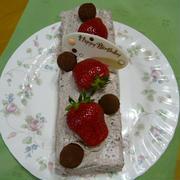 バースデーケーキ♪生チョコレートクリーム&いちごのケーキ